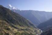 Kimrung Khola Valley & Fishtail in the background